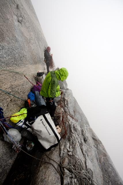 Preparing to bail off Hollow Flake ledge, 2010. Ben Ditto photo