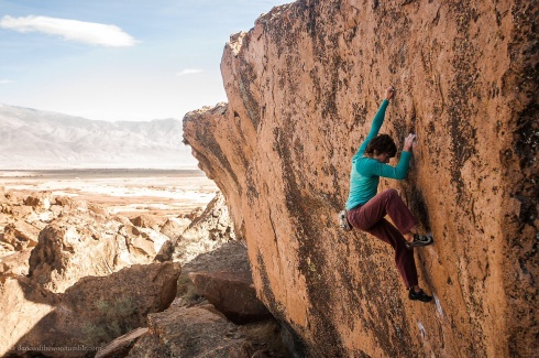 Bouldering close to home on This is How we do it at the Russian Space Station (V8); Bishop, CA pic by Michael Pang