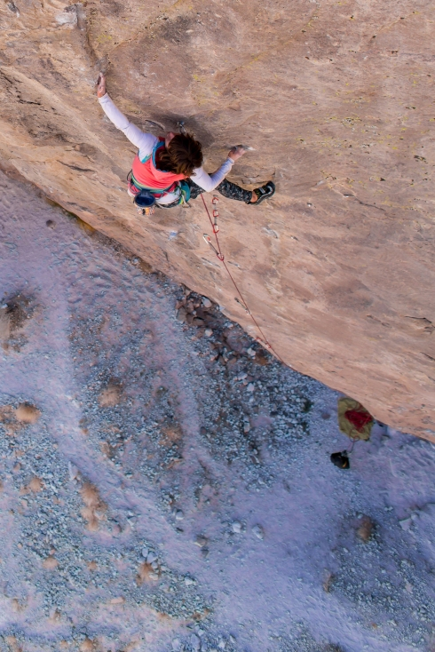 Making the first female ascent of Peter Croft's Holy Mackerel, Owens River Gorge. 8a+/8b. Ben Ditto photo