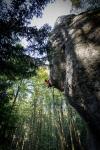 Katie Lambert climbs one of the classics in theFrankenjura.
